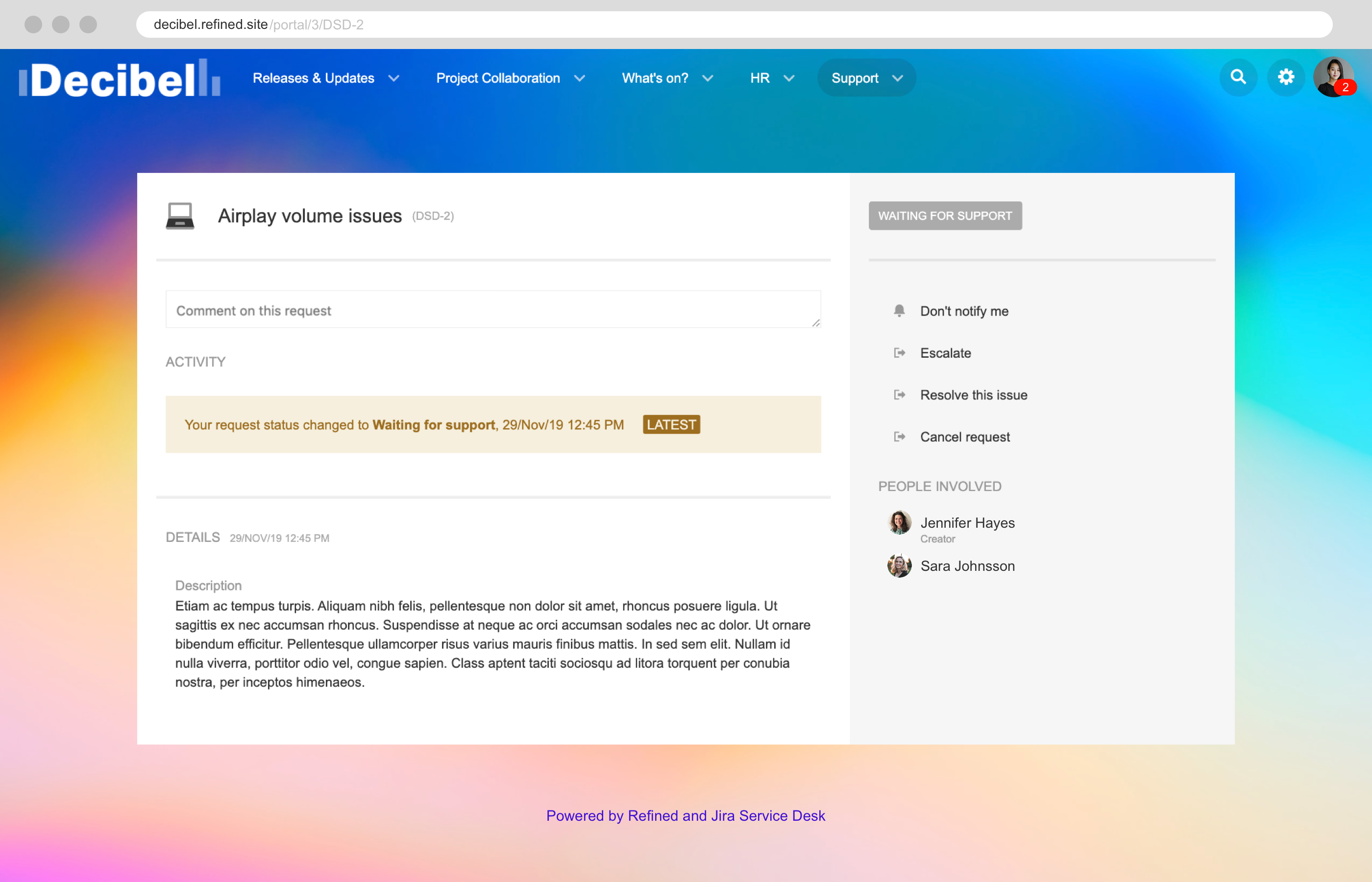 <h3>Jira for the whole organization</h3> <p>With Refined's intuitive user friendly interface, Jira is easily extended to the whole organization. Customers access branded, customized, engaging sites directly connected to Jira, while agents, administrators and day-to-day Jira users operate in standard Jira.</p>