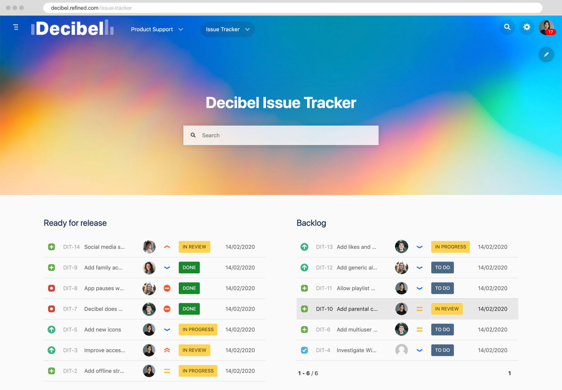An issue tracker built with Refined for Jira.