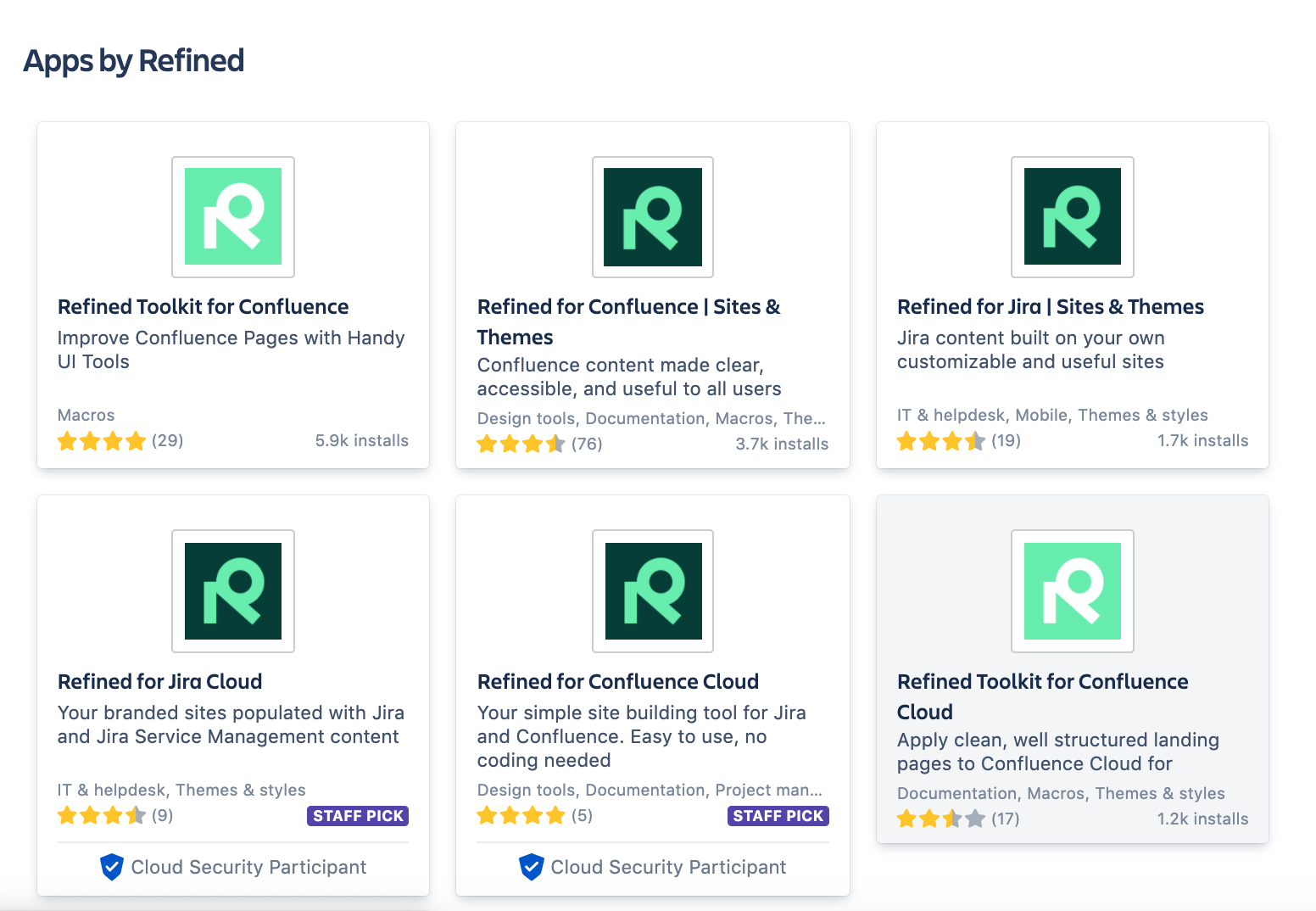 Refined's apps on the Atlassian Marketplace.