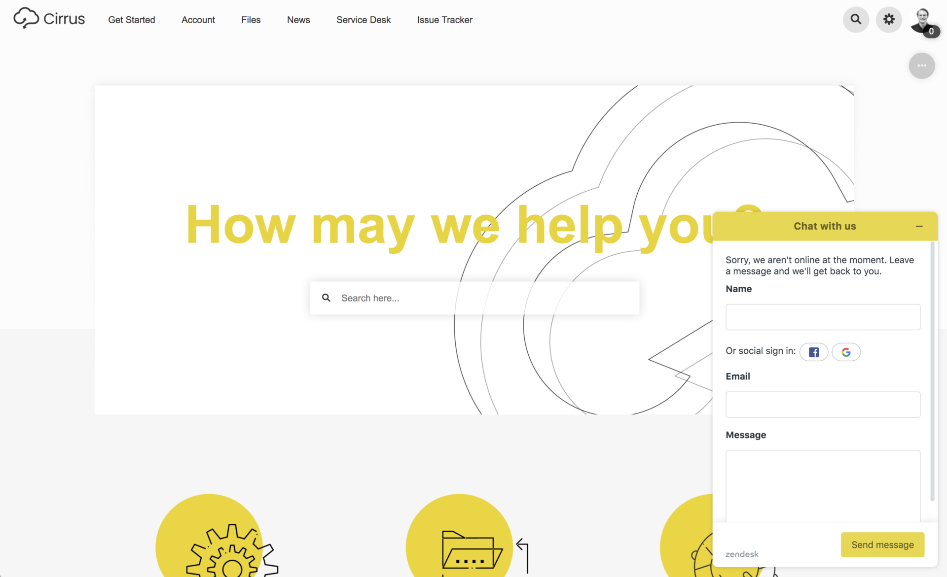 A Zendesk chat widget integrated with a Refined/Jira Service Management help center.